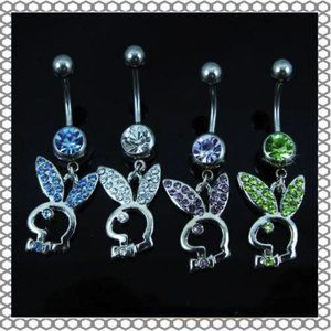 Play Boy Bunny Crystal Navel Belly Button Ring